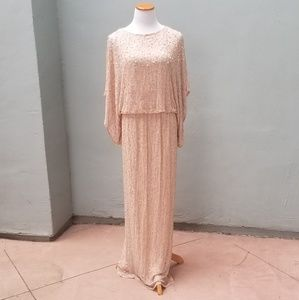 Patra Sequins Beads Party Dress Gown Pink 14 Maxi